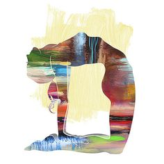 Yoga Art CAMEL POSE  Large Yoga Wall Art Yoga Pose by YogaColors