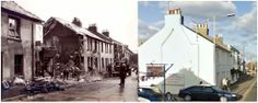 The pictures above seem to bear out his fears. On October the 8th 1940, two houses were destroyed by bombing - just four doors west of the pub and slightly north to the origin position of the gasometers.   The picture on the left shows the scene today, the houses destroyed were never rebuilt. Today the space is occupied by a second hand car dealership.