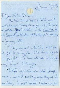 Jan 1970 Letter from Jacqueline Kennedy Onassis to President and Mrs. Nixon explaining why she could not go back to the White House just yet, to attend a Committee meeting being held there of the Preservation of the White House, of which she was a member.