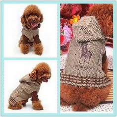 Horse Pattern Hooded Sweater with Sleeves for Dogs (XS-XL, Assorted Colors) - USD $ 16.19