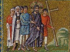 Basilica di Sant'Apollinare Nuovo, Ravenna. Mosaici dell'inizio del VI secolo. Cristo portato al Calvario. Il periodo di Teodorico