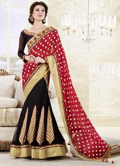 Red and Black Color Half Georgette and Half Net 1 Minute Designer Saree : Divina Collection YF-23137