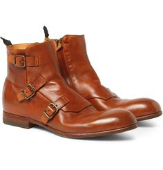 Alexander McQueen Triple Monk-Strap Leather Boots