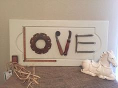Valentine Love Sign W/ Vintage Tools, Wall Hanging