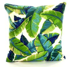OUTDOOR Tropical Pillow Covers Palms Green Aqua Throw Pillows Cushions Navy Blue Ivory Patio Beach Palm Leaves One Or More