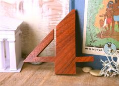 Art Deco Number 4 - Exotic rare African hardwood.. $23.00, via Etsy.