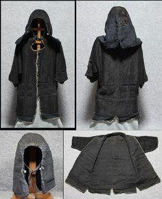 Antique Edo period samurai kusari katabira (chain armor jacket) and kusari zukin (chain armor hood).