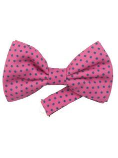 Men's Pink Silk Polka Dot Italian Pre Tie Bow Tie