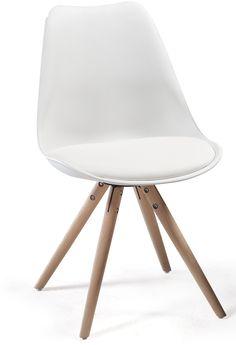Orso Stol - Stilfuld skalstol i hvid plast med flotte egetræsben. Den buede ryg og sædepuden sørger for optimal siddekomfort. Flot og enkel spisebordsstol, som passer ind i de fleste indretningsstile.