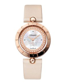 Versace Women's Eon Two Rings Satin Mother-Of-Pearl Rose-Gold Plated Watch Elegant Watches, Beautiful Watches, Cool Watches, Watches For Men, Dream Watches, Rolex, Silver Pocket Watch, Swiss Army Watches, G Shock