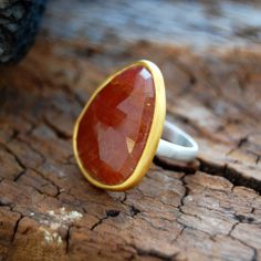 Amber Sapphire Sterling Silver Cocktail Ring - 18k Gold Rim.