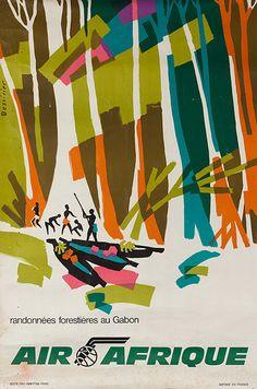 Air Afrique * Gabon, Vintage Travel Poster H. Handschin, designer of this very elegant Swiss travel poster. Vintage Travel Posters, Vintage Airline, Poster Ads, Art Graphique, Africa Travel, Vintage Advertisements, Illustrations Posters, Retro, Travel Photos