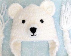 Bear Bear hat Crochet Bear hat Polar Bear hat by ForeverValues Crochet Bear Hat, Crochet Animal Hats, Bonnet Crochet, Pull Crochet, Crochet Kids Hats, Crochet Shoes, Crochet Dolls, Baby Kind, Baby Knitting