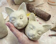 Ceramic Animals, Ceramic Art, Clay Animals, Biscuit, Clay Cats, Head Statue, Sculpture Clay, Animal Sculptures, Art Inspo