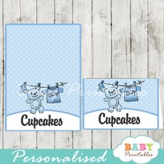Printable baby boy clothes food label tent cards personalized for your buffet table feature a clothesline with blue baby clothing and a cute teddy bear. #babyprintables