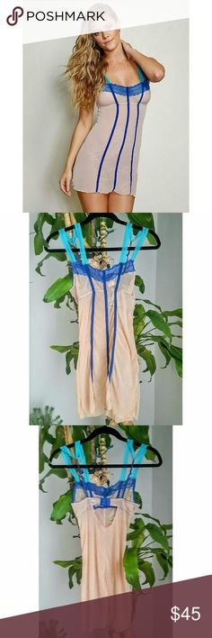 Love Haus by Beach Bunny Swimwear lingerie slip Stretch nude mesh with contrast blue and turquoise.  Never worn. Victoria's Secret Intimates & Sleepwear Chemises & Slips