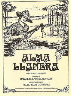 magen de la portada de la primera edición del libreto de Alma llanera, que escribio Rafael Bolivar Coronado.
