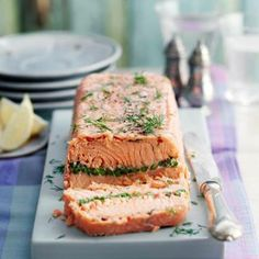 Terrine is perfect for a starter and diabetic friendly. The Good Housekeeping Cookery Team tests every recipe three times before publishing, so you know it will work for you! Salmon And Asparagus, How To Cook Asparagus, Salmon Loaf, Salmon Terrine Recipes, Charcuterie, Nopalitos Recipe, Best Fish Recipes, Easy Recipes, Recipes