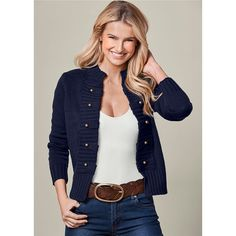8f9b12cc58e4e Venus Women s Tab Button Detail Cardigan ( 34) ❤ liked on Polyvore  featuring tops