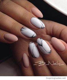 Nude, white and grey gel nails matte style | Inspiring Ladies