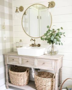 Love the plaid wallpaper, shiplap, and shelf with bask… Farmhouse style bathroom. Love the plaid wallpaper, shiplap, and shelf with baskets for storage. – - Add Modern To Your Life Bad Inspiration, Bathroom Inspiration, Bathroom Furniture, Bathroom Interior, Rustic Furniture, Antique Furniture, Furniture Ideas, Furniture Logo, Farmhouse Furniture