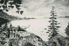 Landscape, the forest - lapiz sobre papel