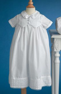 Convertible cotton gown set. The gown converts to a boys short set.