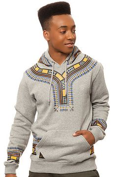 10 Deep Sweatshirt Dashiki Hoody in Heather Grey African Inspired Fashion, African Print Fashion, Fashion Prints, African Attire, African Wear, African Dress, African Clothing For Men, African Shirts, Sport Mode