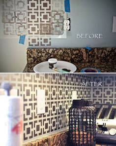 Have you ever considered skipping tile and going for a stenciled back splash?? Elena from the Memento Bracelet Blog did and we think she rocked our Hollywood Squares Stencil here using our Royal Stencil Creme paint!