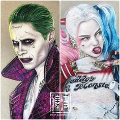 My drawings of The Joker and Harley Quinn from the upcoming movie Suicide Squad