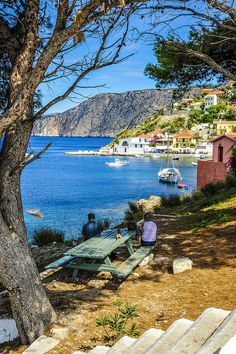 Enjoying morning coffee with a view. Assos village in Kefalonia, Greece Cool Places To Visit, Great Places, Places To Travel, Beautiful Places, Amazing Places, Places In Greece, Honeymoon Spots, Holiday Places, Greek Islands