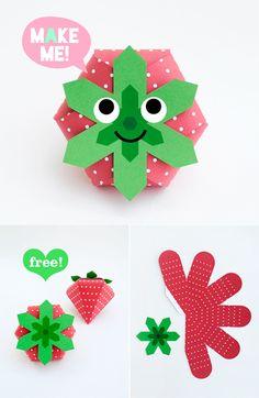 DIY Free Printable Strawberries - so cute! boite de dragées pour le baptême ???