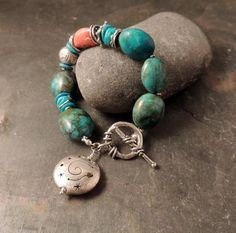 Christmas In July Turquoise and Silver Bracelet, Vintage Turquoise Beads, Artisan Handmade Silver, Rustic, Handcrafted, Southwest, Cowgirl,