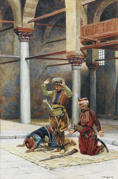 Gustave Bourgain - The Prayer, watercolour, 49 x 32 cm. Hagia Sophia, Jean Leon, Arabian Art, Islamic Paintings, Exotic Art, Ottoman Empire, Arabian Nights, Kandinsky, Islamic Art