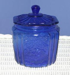 Art Glass | Cobalt Blue Mayfair Cookie Jar Depression Style Glass
