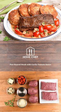 Pan-Seared Steak with Garlic-Tomato Sauce and crispy Parmesan potato cakes