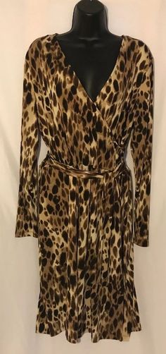c39fe54dc080 JONES NEW YORK Sport Dress XL faux wrap Animal Print Leopard