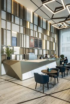 Hotel Marriot Courtyard Al Barsha Dubai - Dezign Ark (Beta) Lounge Design, Design Entrée, Design Ideas, Lounge Decor, Design Trends, Hotel Lobby Design, Modern Hotel Lobby, Hotel Interiors, Office Interiors