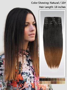Cheap clip in hair remy, Buy Quality hair piece clip directly from China clip collar Suppliers: Type:Ombre Clip In Hair Extensions Indian Remy Human Hair Extensions Color:Top Length Black Hair Ombre, Ombre Hair Color, Hair Colors, Colored Hair Extensions, Clip In Hair Extensions, Human Hair Clip Ins, Remy Human Hair, Diy Your Hair, Hair Extensions Before And After