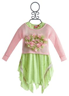 Mini Mini Little Girls Layered Asymmetrical Hem Hankie Handkerchief Dress Pink Symphony - The colors and flowers on the front are horrendous, but I like the cut.