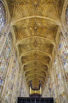 The incredible vaulted ceiling of King's College Chapel, Cambridge.
