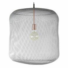 Grijze hanglamp met gaas 52cm diameter