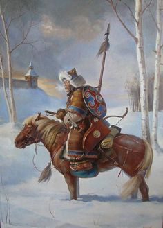 A Mongolian warrior scouting a town in Europe.