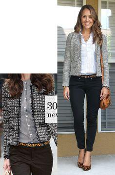 Tweed jacket, black jeans, white collared shirt, leopard print