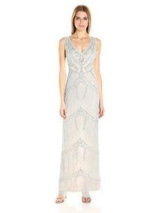 Adrianna Papell Women's Beaded Column Gown - http://www.darrenblogs.com/2017/01/adrianna-papell-womens-beaded-column-gown/