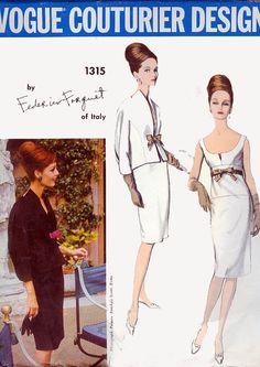 Vogue COUTURIER 1315 by Frederico Forquet from 1964 ~ Vogue 1314 and 1315 are the epitome of 60s chic to me ~ perfect & classy MOB ensembles ~