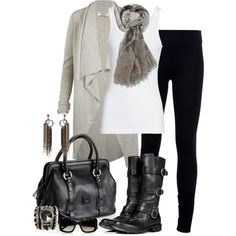 Comfortable & Stylish. Simple skinnies, white tee, cardigan & boots. Ugh love the boots!