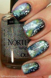 Over 3511 people liked this! Northern LIghts Nail Polish over Galaxy nail art. Nails Opi, Nails Polish, Shellac, Gel Manicure, Nail Nail, Pedicure Nails, Mani Pedi, Love Nails, How To Do Nails