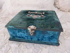 Antique blue velvet wooden jewelry or sewing box rare 1800s French trinket box keepsake box w brocade lining, vintage boudoir home decor Blue Home Decor, Lovely Shop, Boxes For Sale, Brocade Fabric, Sewing Box, Blue Tones, Wooden Jewelry, Made Of Wood, Keepsake Boxes