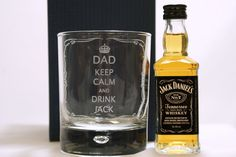 KEEP CALM GLASS & JACK DANIELS